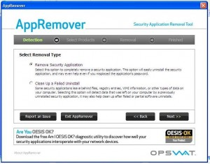 App Remover (removing security software)