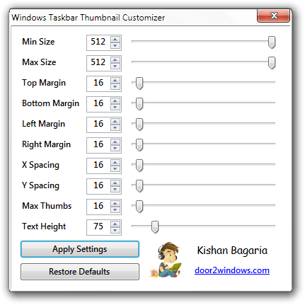 Windows Taskbar Thumbnail Customizer