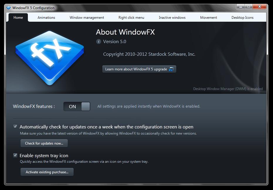 WindowFX 5 Configuration