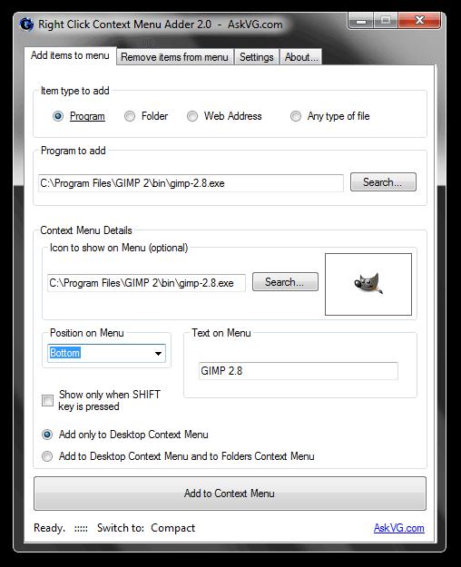 Right Click Context Menu Adder 2.0  -  AskVG.com