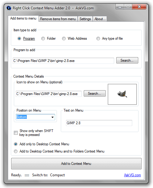 Right Click Context Menu Adder 2.0  -  AskVG.com