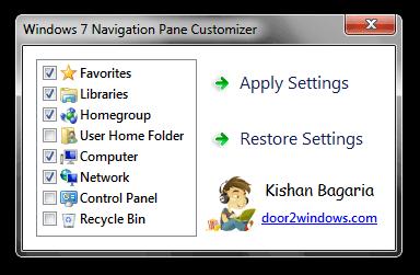 Windows 7 Navigation Pane Customizer