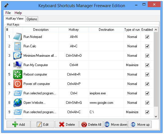 Keyboard Shortcuts Manager Freeware Edition