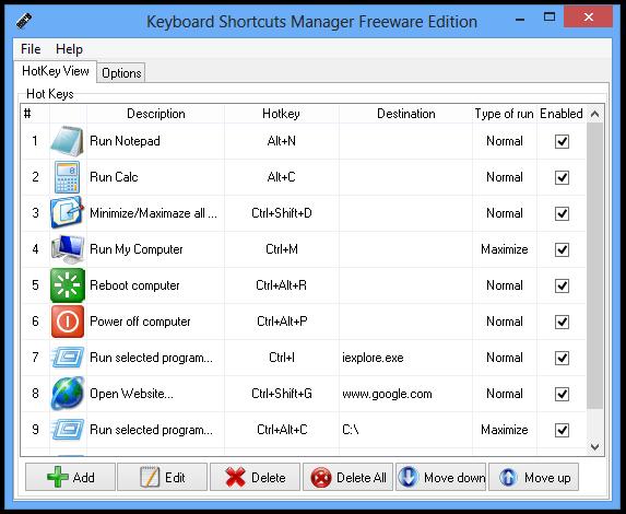 Keyboard Shortcuts Manager Freeware Edition