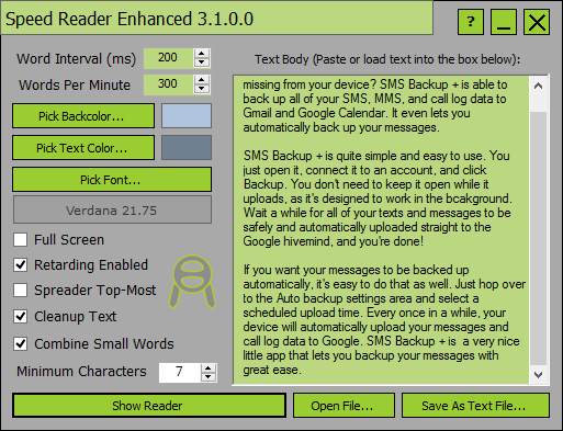 Speed Reader Enhanced