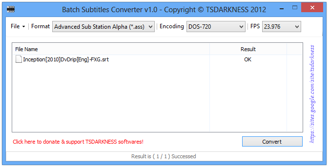 Batch Subtitles Converter v1.0 - Copyright © TSDARKNESS 2012