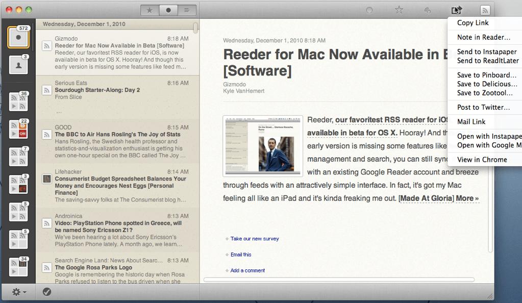 Reeder for Mac