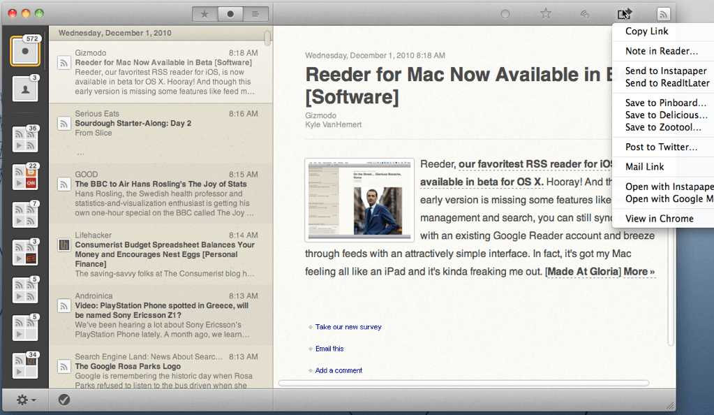 Reeder for Mac