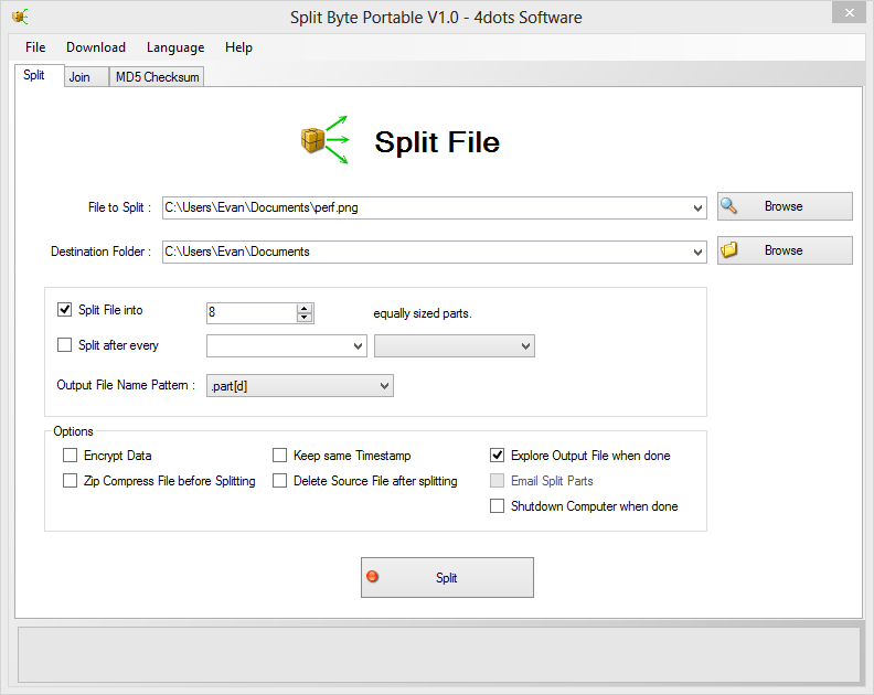 Split Byte Portable V1.0 - 4dots Software