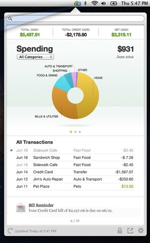 Example of Spending Monitor