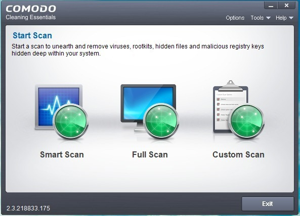 Comodo Cleaning Essentails Menu