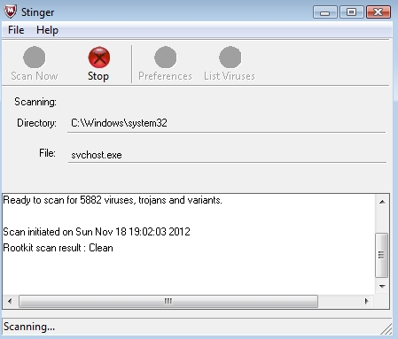 McAfee Stinger Screenshot