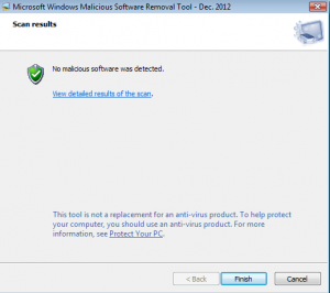 Microsoft Windows Malicious Software Removal Tool Screenshot