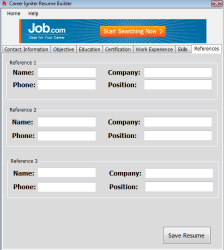 Career Igniter Resume Builder Screenshot