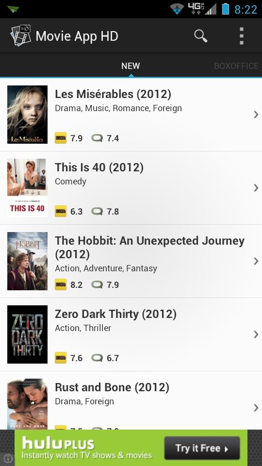 Movie App HD Main Menu