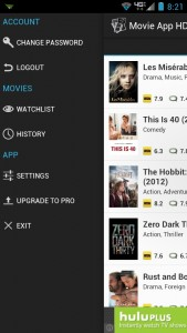Movie App HD Settings