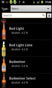 SoberApp Drink List