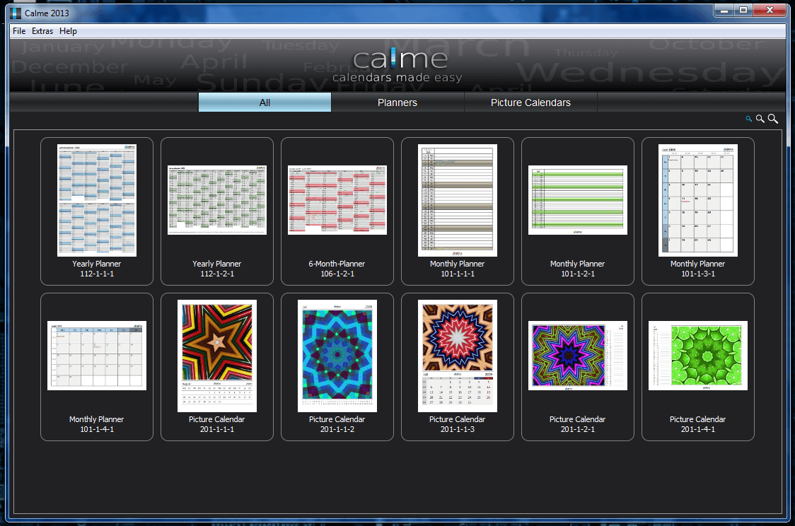 Calme Calendar designer
