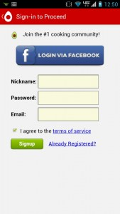 Recipe Search Social Login