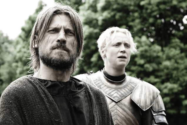 Still of Nikolaj Coster-Waldau and Gwendoline Christie in Game of Thrones