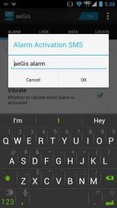 aeGis alarm activation text