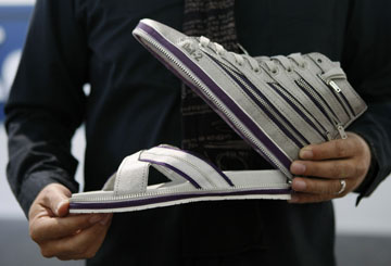 A modular shoe is displayed at the fashion tradeshow in Barcelona