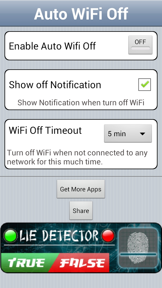 Auto WiFi Off Main UI