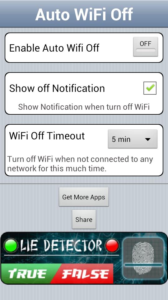 Auto WiFi Off Main UI
