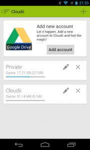 Cloudii setting up Google Drive account