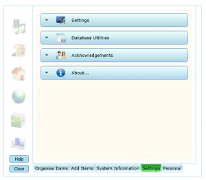 Concord settings menu