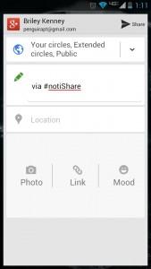 Google Plus sharing window