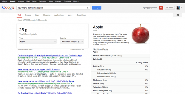 Google nutrition information screenshot