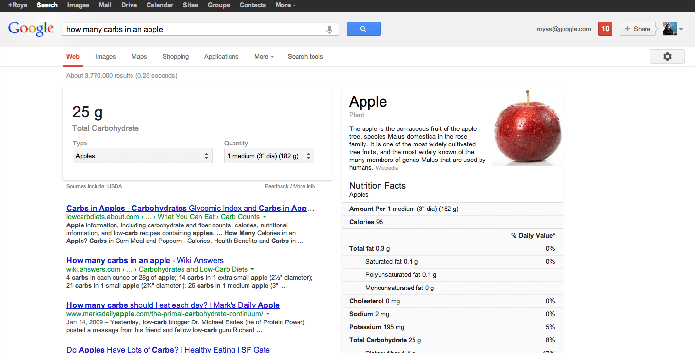 Google nutrition information screenshot