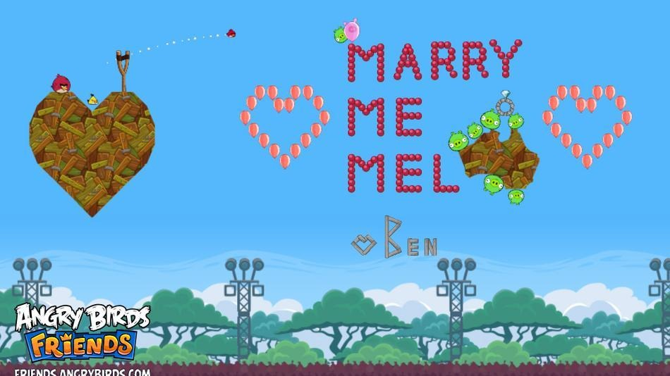 Marry Me Mel Angry Birds Proposal