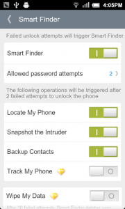 Mobile Easy Finder Application Settings