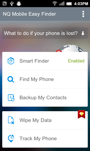 NQ Mobile Easy Finder Main UI