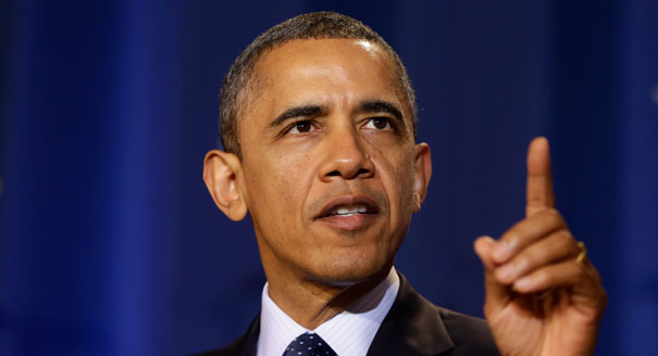 Obama with the finger warning