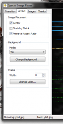 Special Image Player layout tab