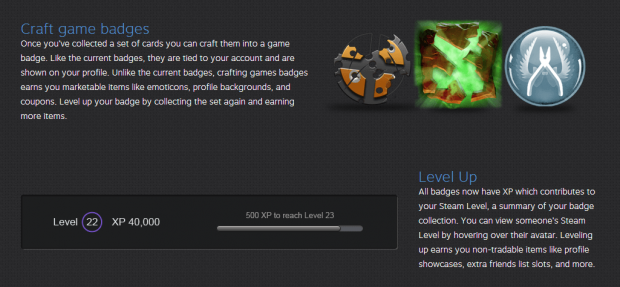Steam Craft Badges and Level Up