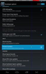Android 4.2 Pointer Location (Developer Options)