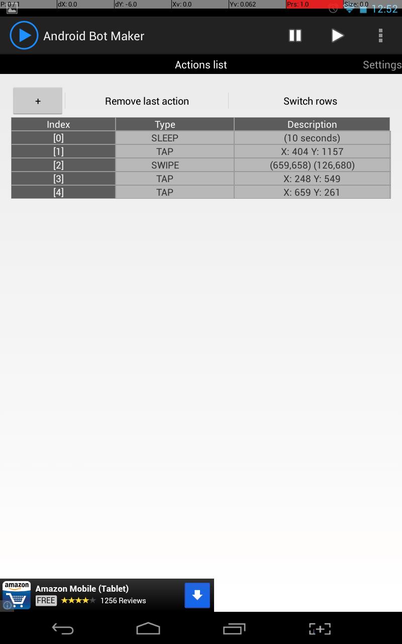 Android Bot Maker Action List Setup
