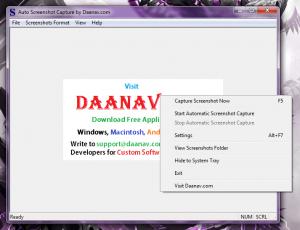 Auto Screen Capture right click context menu