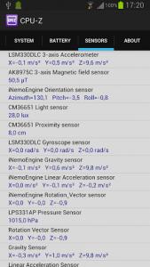 CPU-Z sensors tab