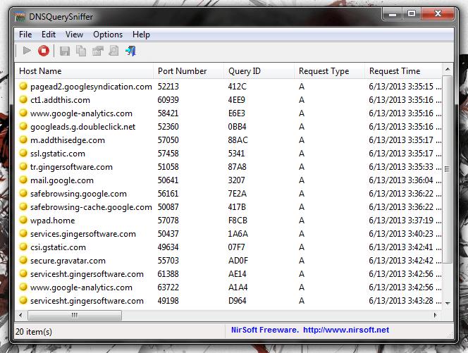 DNSQuerySniffer UI