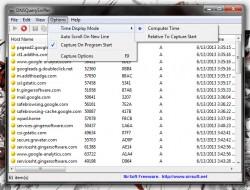 DNSQuerySniffer options menu