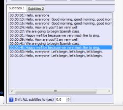 LaMP subtitles list box