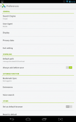 Next Browser application settings