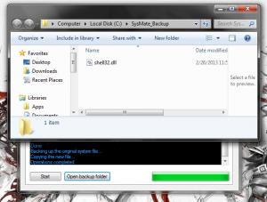 SysMate backup folder