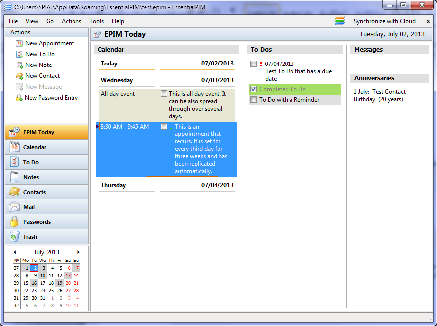 Essential PIM Screenshot