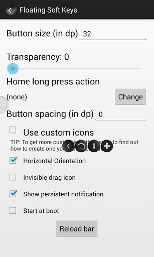 Floating Soft Keys settings menu